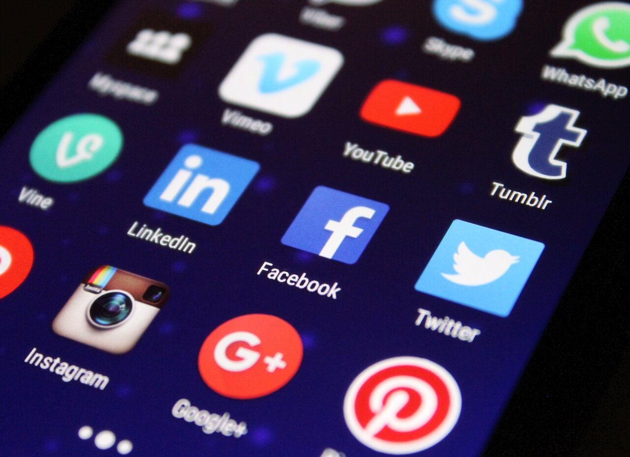 social media icons on a phone