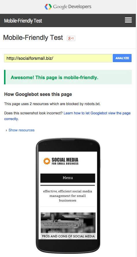 example of a site that passed google's mobile friendly tool