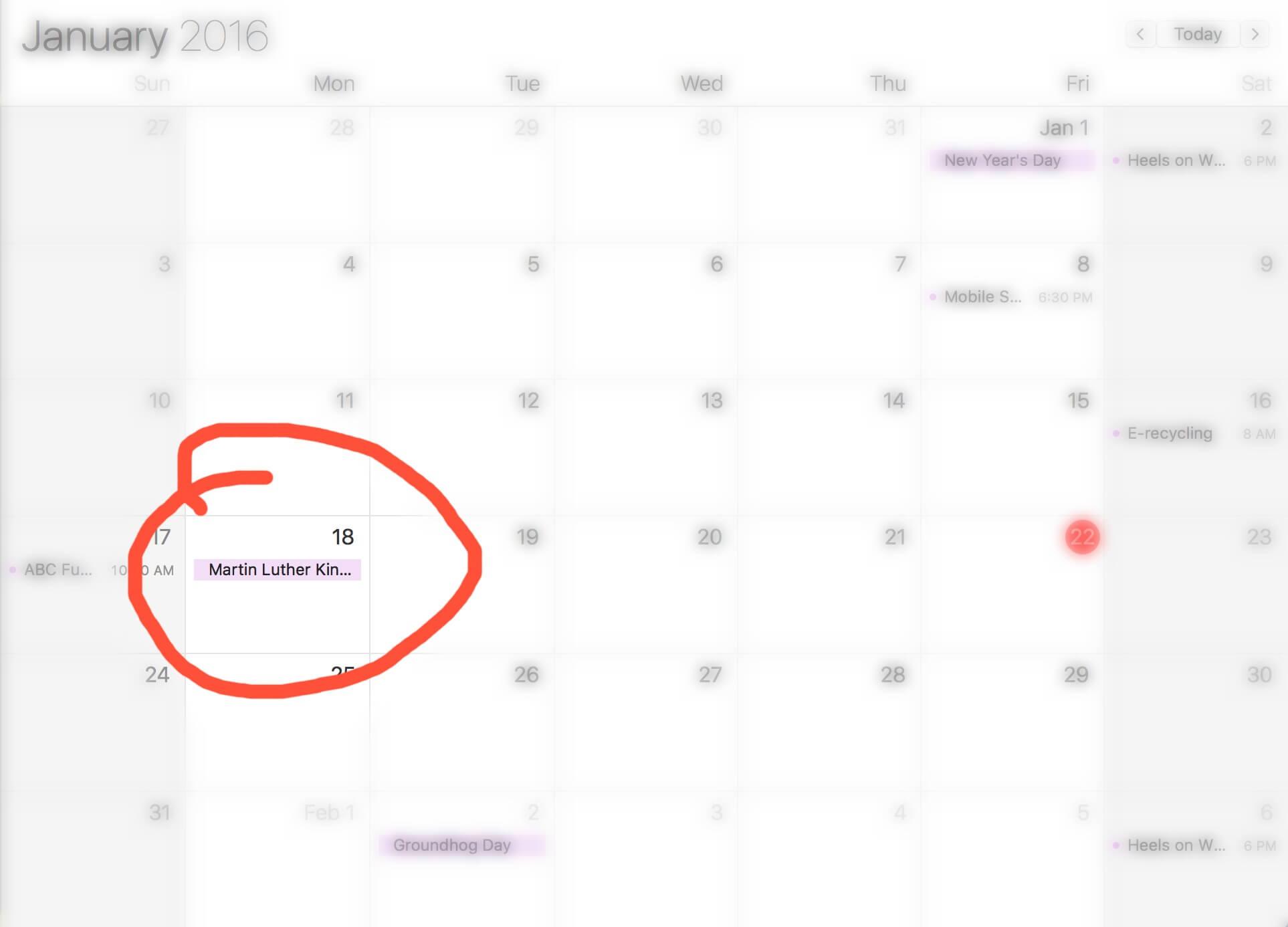 mlk day on calendar