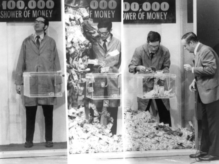 Money shower from Concentration game show 1972