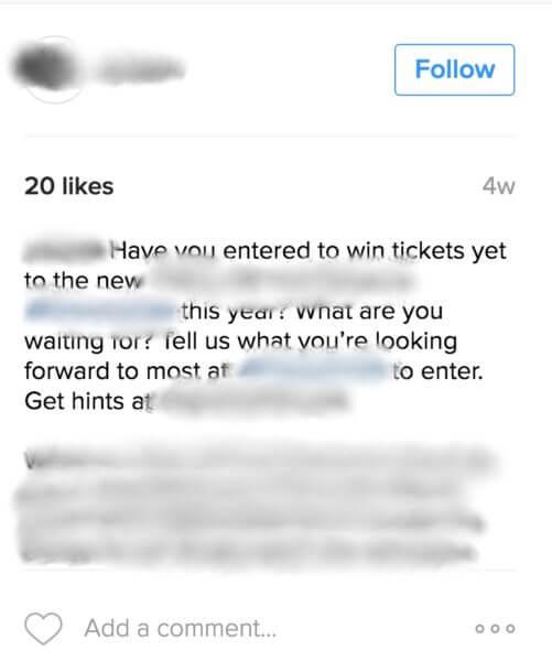 instagram contest no entries
